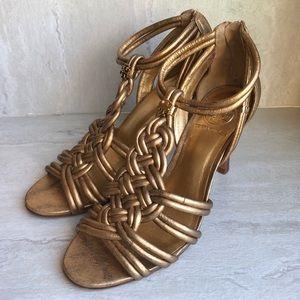 Tory Burch gold metallic braided heels 7.5